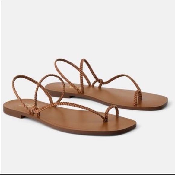 Womens Zara Brown Braided Strappy Sandals